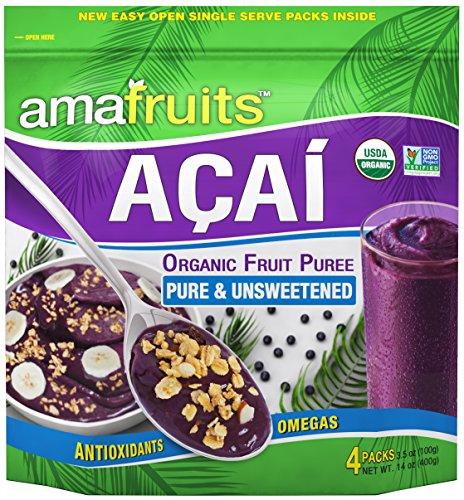 Amafruits Acai Berry Puree - Pure & Unsweetened - 24 x 3.5 oz. Packs